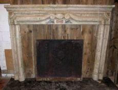 cheminée chm485 dans Gassino marbre incrusté d'onyx, mis. larg. 185 x H 141 cm, prof. 12 cm