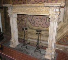 chp240  camino in terracotta di Signa, epoca '800; mis. larg. cm 183 x h 149, prof. cm 40 piano