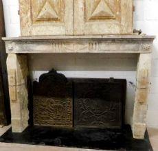 chp257  camino in pietra Luigi XVI,cm 148 x h 103, prof.cm28