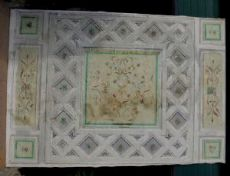 darb098  soffitto dipinto su tela,epoca  primi '800   misura  m.3,46 x 232/240 cm