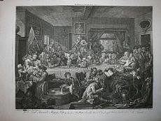 Élections parlementaires - jeu de 4 - Hogarth / cuisinier 1803 (satire)