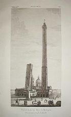 Le due torri Garisenda e Asinelli - Bologna - Zuccagni Orlandini 1842