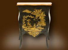 Coppia di comodini speculari laccati nero e oro col piano arancione stile Napoleone  1850 - 1880
