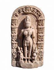 Placa de mármol que representa a la deidad india