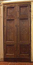 ptci358 Tür in Nussbaum mit geschnitzten Dekorationen, mis.cm 96 x 211 x 6,5 Ära Mitte-800
