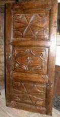 rustikal geschnitzte Nussbaum Tür, mis. h 174 cm x 80