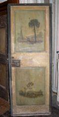 puerta ptl375 con paisajes del siglo XVIII pintadas por ambos lados, mis. h cm195 x 76cm