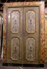 porta ptl376 com quadro pintado mármore falso, mis. h 264 cm x 175 cm larg.