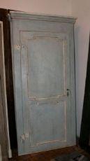 ptl394 due porte Luigi XVI con telaio, laccate azzurre, misura totale. h cm 230 x 108