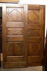 pts506 Paar Nussbaum getäfelten Türen Lutschtabletten, doppelseitig, mis. 79 cm xh 204 Dicke. cm 3