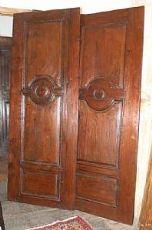 pts509 Paar von Anschlüssen Reich Nussbaum und Eiche, mis. 75 cm xh 204 cm Dicke 2,5 restauriert