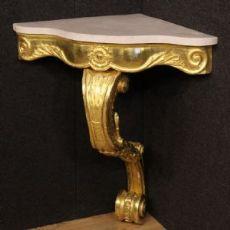 Console italiana in legno dorato con piano in marmo