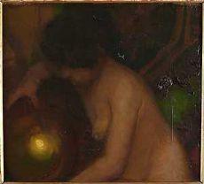 """Protti Alfredo. """"Nudo di donna con luce"""". Cm h. 46x51."""