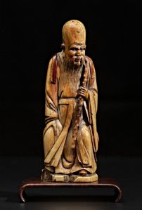Interesting  Ming Dynasty Shou - Lao in carved ivory
