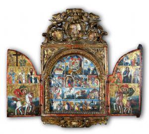 Triptyque, XVe siècle, le sud de la Grèce, tempera sur panneau, cm. 76 x 68 (ouvert)
