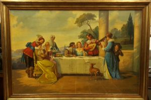 Italian painting of a gallant scene second half of the twentieth century, signed
