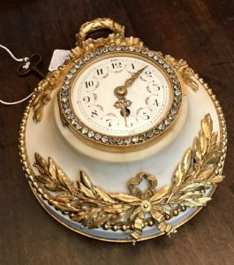 jewel clock, in white Carrara marble and gilded bronze