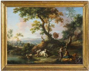 Vittorio Amedeo Cignaroli (Turin 1730-1800) - Campagne paysage avec personnages et animaux