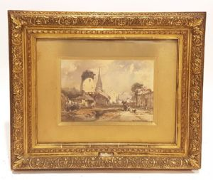 Paesaggio Acquerello di Eduard Hildebbrandt 1841.Germany