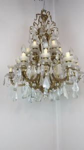 Large antique chandelier in bronze golden crystals early 1900 18 diam 70 lights""