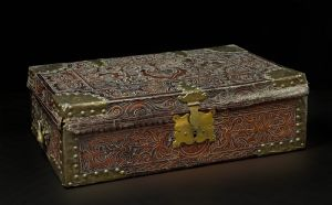 """Beautiful colonial box, Peru, 17th c, embossed leather"""""""