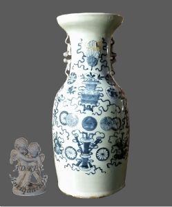 Vaso chinês branco e azul
