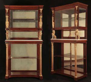 """Coppia di vetrinette arte Toscana sec. XIX Stile Impero """"Retour d'Egypte"""""""