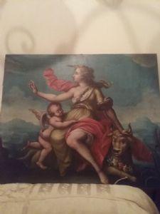 dipinto olio su tela raffigurante Europa  90 x  75