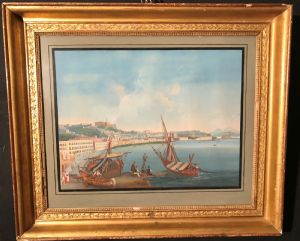Gouache vista di Napoli