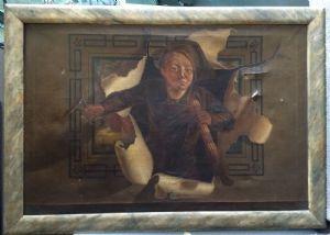 """Pittore della fine XIX - inizio XX sec., """"Spazzacamino"""", olio su tela, H cm 77x114"""
