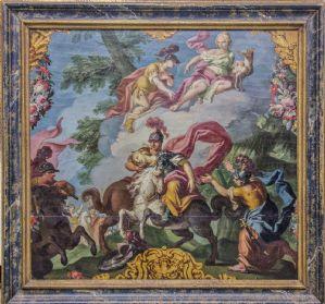 Dipinto con cavalli, cavalieri e vari personaggi