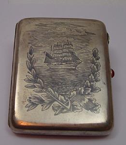 Silver cigarette case with niello
