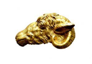 Dorato Ram bronzo testa 1700 circa