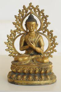 Buda, Tibet, antigo, final do século 19, Bronze dourado
