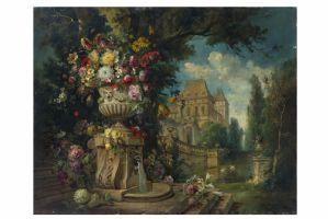 Coppia di dipinti raffigurante fiori e architettura