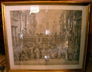 """Old Engraving """"Wedding of Cana"""" Sec. XVII"""""""