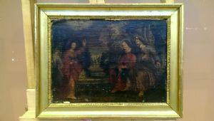scène religieuse, huile sur cuir, vintage « 700