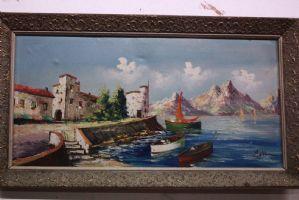 Dipinto olio su tela raffigurante paesaggio portuale con cornice painting oil