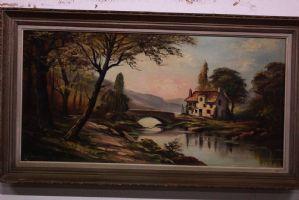 Dipinto olio su tela raffigurante paesaggio con ponte e casetta painting canvas