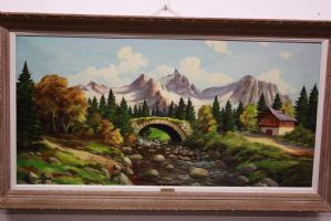 Dipinto olio su tela raffigurante paesaggio alpino con ponte e casetta painting
