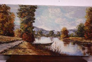 Dipinto olio su tela raffigurante paesaggio fluviale con barche painting canvas