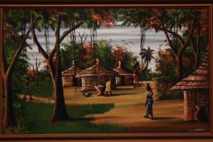 """Oil on canvas depicting landscape and village painting oil on canvas"""""""