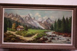 Dipinto olio su tela raffigurante paesaggio di montagna con ruscello painting