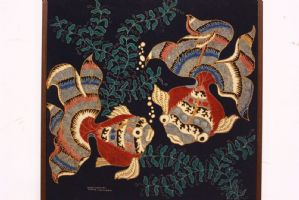 Quadro in tessuto stampato provenienza Indonesia con pesci printed fabric
