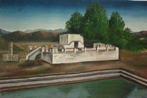 Dipinto olio su tela raffigurante paesaggio con architettura painting oil canvas