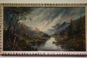 Dipinto olio su tela raffigurante paesaggio di montagna painting oil on canvas