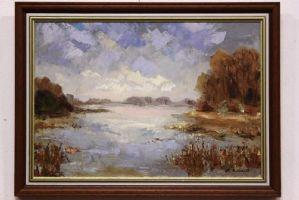 Dipinto olio su tela raffigurante paesaggio paludoso con alberi painting canvas