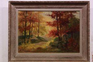Dipinto olio su tela raffigurante bosco con alberi e rocce painting oil canvas
