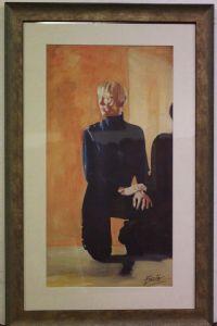 La impresión hermosa con el marco y el vidrio de impresión firmada representa sujeto femenino