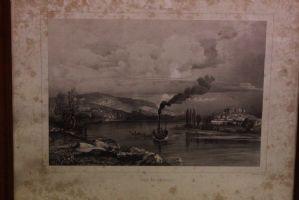 Imprimer le 800 XIX siècle. avec le verre et le cadre représentant le paysage avec le bateau